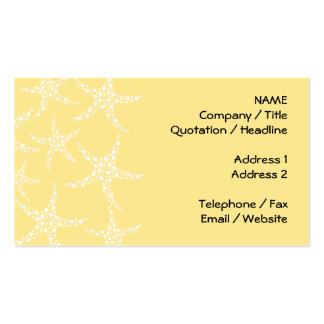 Sandy Yellow and White Starfish Pattern. Pack Of Standard Business Cards