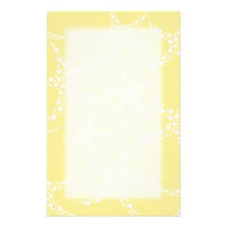 Sandy Yellow and White Starfish Pattern. Personalized Stationery