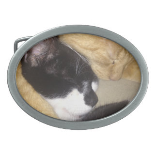 Sandybean and Foofy snuggling for nap time Oval Belt Buckles