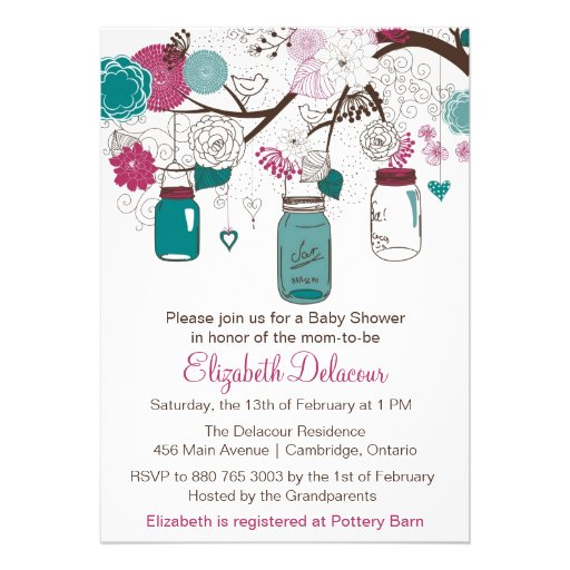 Sangria and Teal Mason Jars Baby Shower Invitation