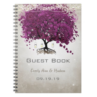 Sangria  Purple Romantic Heart Leaf Wedding Spiral Note Books