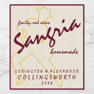 Sangria With Flamenco Dancer Homemade Wine Label