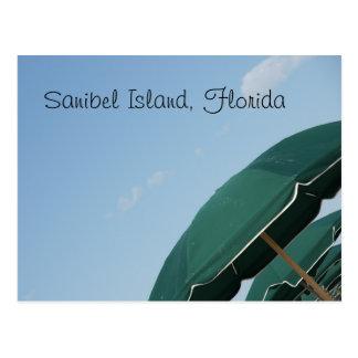 Sanibel Island, Florida corner umbrellas Postcard