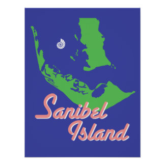 Sanibel Island Florida map art Poster