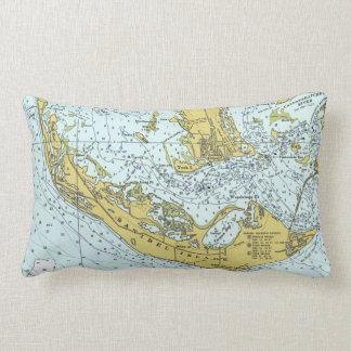 Sanibel Island Florida vintage map Lumbar Cushion