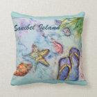 Sanibel Island Florida watercolor Beach theme Cushion