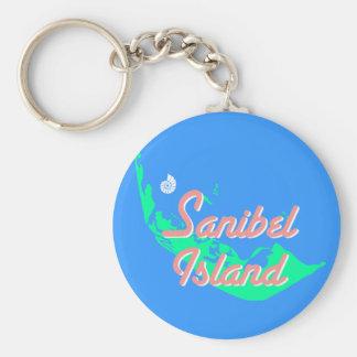 Sanibel Island map outline design Key Ring