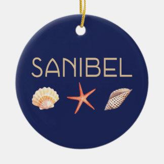 Sanibel Island Seashells on Blue Ceramic Ornament