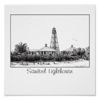 sanibel lighthouse florida poster