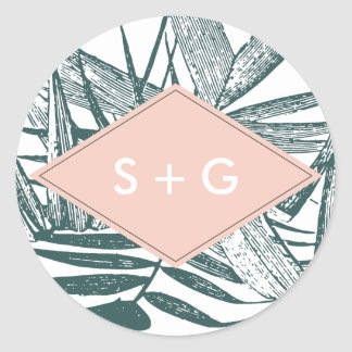 Sanibel | Tropical Botanical Wedding Monogram Classic Round Sticker