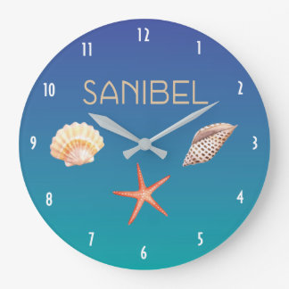 Sanibel with Seashells Large Clock