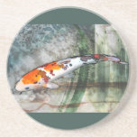 Sanke Koi in Abstract Blue & Green Pond Beverage Coasters
