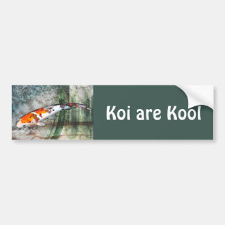 Sanke Koi in Abstract Blue & Green Pond Bumper Sticker