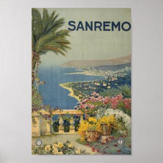 Sanremo Italy vintage travel art Poster