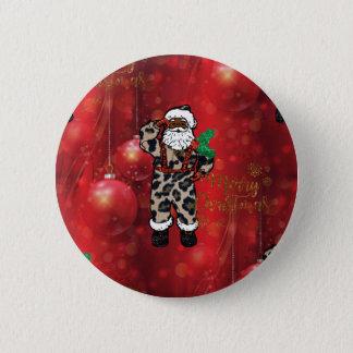 santa african leopard claus red 6 cm round badge