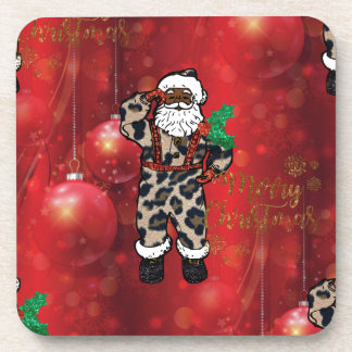santa african leopard claus red coaster