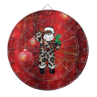 santa african leopard claus red dartboard