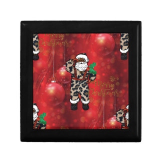 santa african leopard claus red gift box