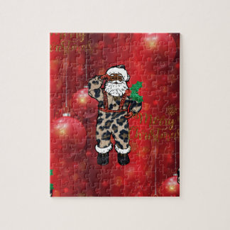 santa african leopard claus red jigsaw puzzle