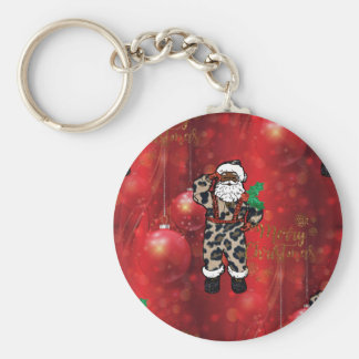 santa african leopard claus red key ring