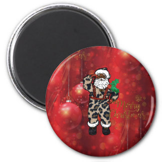 santa african leopard claus red magnet