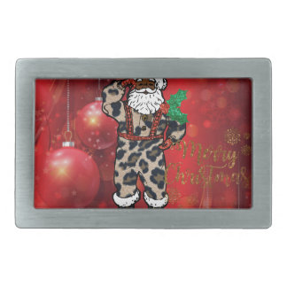 santa african leopard claus red rectangular belt buckle