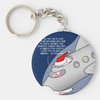 Santa Airlines Basic Round Button Key Ring