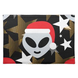 santa alien emoji placemat