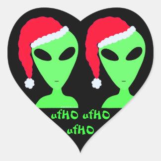 Santa Alien Geeky Christmas ufHO ufHO ufHO Decal Heart Sticker
