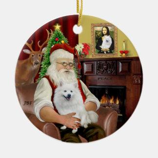 Santa-American Eskimo Dog Round Ceramic Decoration