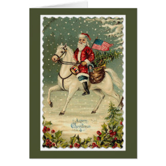Santa American Flag Horse Christmas Card