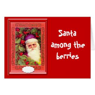 Santa among the berries greeting card