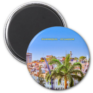 Santa Ana Hill, Guayaquil Poster Print 6 Cm Round Magnet