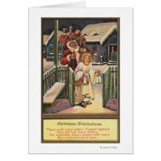 Santa and Angel with Lantern Greeting Card
