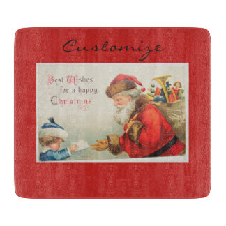 Santa and boy vintage nostalgia Christmas Cutting Board
