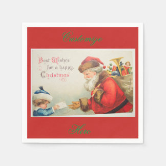 Santa and boy vintage nostalgia Christmas Disposable Serviette