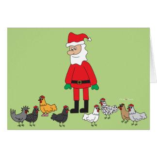 Santa and Chickens Card