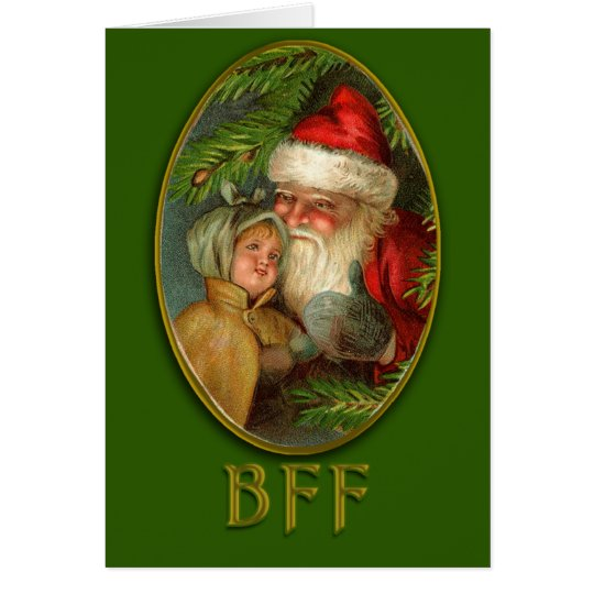 Santa and Child BFF Vintage Art Christmas Cards