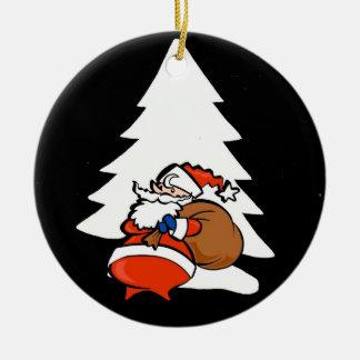 Santa And Christmas Tree Christmas Ornament