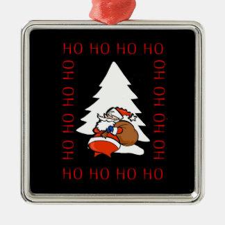 Santa And Christmas Tree Ho Ho Ho Ho Christmas Orn Silver-Colored Square Decoration