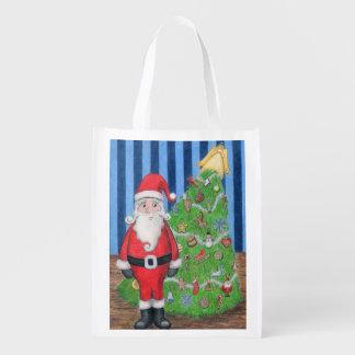 Santa and Christmas Tree Reusable Grocery Bag