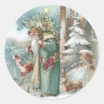 Santa and Forest Animals Vintage Christmas Round Sticker