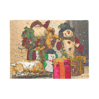 SANTA AND FRIENDS DOORMAT
