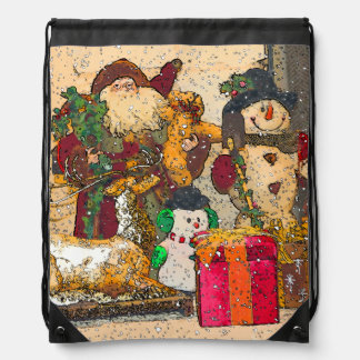 SANTA AND FRIENDS DRAWSTRING BAG