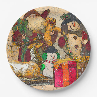 SANTA AND FRIENDS PAPER PLATE