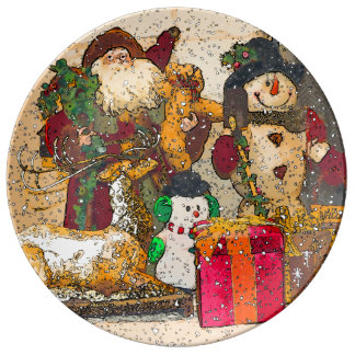 SANTA AND FRIENDS PLATE