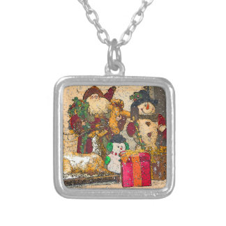 SANTA AND FRIENDS SILVER PLATED NECKLACE