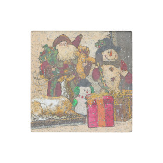 SANTA AND FRIENDS STONE MAGNET