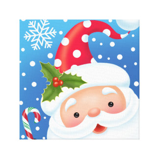 Santa and His Polka Dot Hat Canvas Print