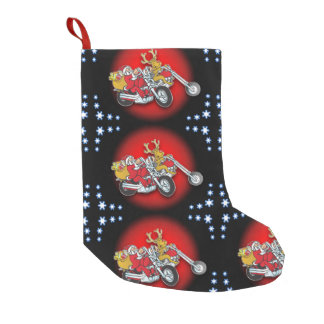 Santa and his reindeer delivering joy small christmas stocking
